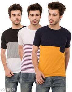 Tshirts Trendy Men's Cotton Blend Tshirts Combo Fabric: Cotton Blend Sleeves: Half Sleeves Are Included Size: S M L XL (Refer Size Chart)  Length: Refer Size Chart Fit: Regular Fit Type: Stitched Description: It Has 3 Pieces of Men's T-Shirts Pattern: Solid Country of Origin: India Sizes Available: S, M, L, XL   Catalog Rating: ★4 (487)  Catalog Name: Stylish Trendy Men's Cotton Blend Tshirts Combo Vol 9 CatalogID_284649 C70-SC1205 Code: 294-2145904-4521
