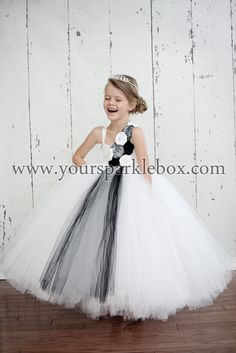 White Silver and Black Tutu Dress by YourSparkleBox Modern Flower girl
