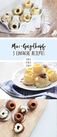 Mini-Gugl - 3 different versions - Mini-Gugl - 3 different versions / . - Mini-Gugl – 3 different versions – Mini-Gugl – 3 different versions / Gugelhupf recipe – - Easy Smoothie Recipes, Easy Smoothies, Healthy Dessert Recipes, Snack Recipes, Snacks, Mini Desserts, Summer Desserts, Donut Recipes, Cake Recipes