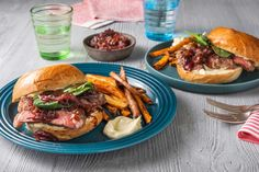 A saucy BBQ steak sandwich is such a dreamy dish. Enjoy juicy steak and BBQ sauce with soft buns accompanied by baked sweet potato fries; Steak Sandwich Recipes, Steak Recipes, Bbq Steak, Hello Fresh Recipes, Juicy Steak, Fried Potatoes, Caramelized Onions, Sandwiches