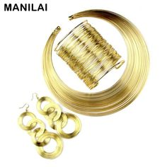 Women Fashion Jewelry Set Multilayer Metal Wire Chokers Necklace Bangle Earring Sets