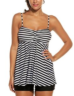 19f08f480441d Avidlove Womens Sexy Retro Sailor Stripe Tankini Swimsuit Spaghetti with  trunks Black XXL  gt  gt