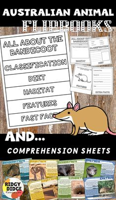 Australian Animal Flipbook and Comprehension Sheets ready to print for your classroom today!