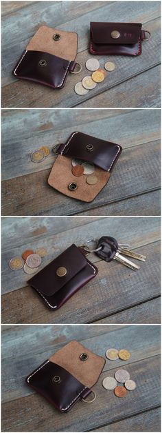 Leather coin purse, Coin Purse, Leather coin pouch, Small leather pouch, Mens coin purse, Leather coin wallet, Horween Chromexcel #8