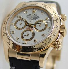 Rolex Cosmograph Daytona Gold White Dial 116518 Black Leather Strap
