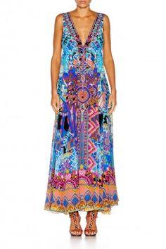4e0ca56b3ab Camilla Australian designer ALICE IN ESSAOUIRA LONG VNECK DRAWSTRING DRESS  Camilla Dress