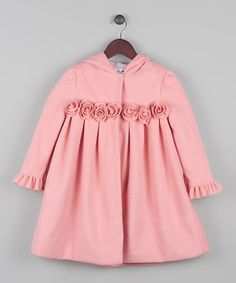 Look what I found on #zulily! Pink Rosette Ruffle Hooded Coat - Toddler & Girls #zulilyfinds