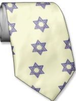 Star of David ivory and blue tie