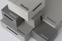 Close up of the packaging boxes for Bibelot, a European styled dessert boutique in Melbourne.