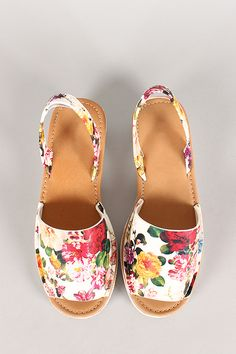 874913be7ff4 Bamboo Floral Slingback Wedge Sandal