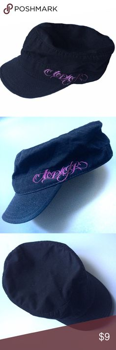 """Black military style cap Awesome hat I bought at Lollapalooza years ago, and never wear anymore. Black with pink screen print of """"todiefor"""" logo on the side. I think ToDieFor was a band at the festival, but I honestly don't remember.. Just liked the hat! 😘 circumference measures about 24 inches. Other"""