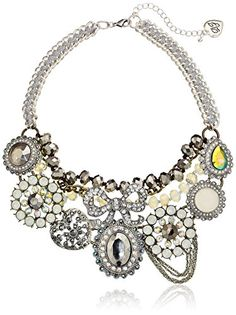 Betsey Johnson Women's Whiteout CS Crystal Mix Bow Flower Frontal Necklace Crystal/Silver Ox Strand Necklace - Jewelry For Her