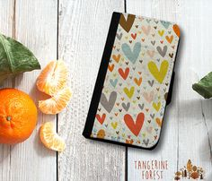 Flying Hearts Wallet Phone Case. iPhone 4//4s or 5//5s. Samsung Galaxy S3 or S4.
