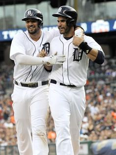 Tigers' Nick Castellanos (9) and J.D. Martinez (28). I hope the Tigers keep these 2 guys. -my favs!!