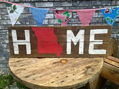 Missouri HOME Reclaimed Wood State Sign by Junque2Jewels on Etsy, $48.00