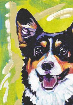 Tri Color Pembroke Welsh Corgi art print pop dog art bright colorful dog portrait art 13x19