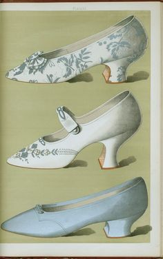 Shoe of silver brocade; shoe embroidered in white silk and silver beads, with a single ankle strap; shoe of plain silver kid with enlongated toe, beaded by small silver ornament. 1900.