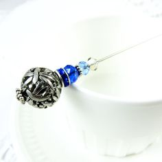 Blue Dragonfly Hat Pin, Jewelry For Her, Women's Handmade Scarf Pin, Victorian Stick Pin, Brooch, Scarf Pin, Stocking Stuffer