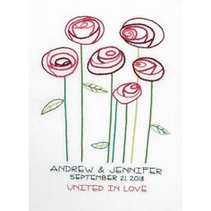 """Simple Roses Wedding Record Crewel Embroidery Kit-9""""X12"""" Stitched In Cotton & Wool"""
