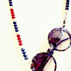 Correntes para óculos handmade De Laurentis cristal.