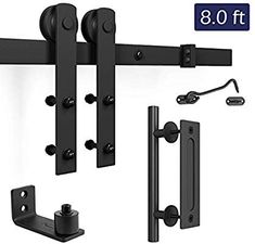 "Amazon.com: SMARTSTANDARD 6.6ft Heavy Duty Sturdy Sliding Barn Door Hardware Kit - Smoothly and Quietly-Easy to install - Includes Step-By-Step Installation Instruction Fit 36""-40"" Wide Door Panel(I Shape Hanger): Home Improvement"
