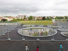 Lucie Aubrac Educational Complex in France by Laurens&Loustau Architectes | Rooftop playground