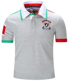 d2ae9eaf0e Turn-Down Collar Letters Badge Embroidered Color Block Spliced Short Sleeve  Polo T-Shirt For Men