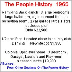 More Prices From 1965 Taken From Cars, Food, Clothes, Homes, Elecrical Sections Of The People History
