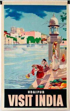 Visit India. Udaipur - Vintage Travel Poster #india