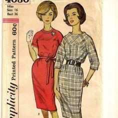 A Retro Back Zip, Three-Quarter or Short Sleeve, Slim Skirted Wiggle Dress Pattern, Vintage 1960s