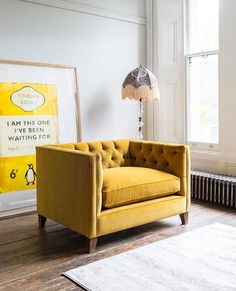 Yellow sofas: 9 of the best. Whether your taste is for mustard or saffron shades, burnt ambers or subtle apricots, find a standout piece in our pick of the best yellow sofas. Living room with yellow love seat by sofas & stuff Sofa Design, Interior Design, Mustard Sofa, Bespoke Sofas, Yellow Sofa, Sofa Sale, Corner Sofa, Mellow Yellow, Living Room Sofa