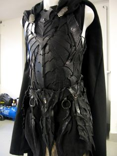 Drow breastplate. Excellent construction. Ok allowed for metal shows only. leave the cape since well it'll land you in a nuthouse.