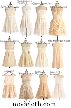 """""""Bridesmaid Possibilities"""" by ks1448 on Polyvore    Mismatched nude-colored potential bridesmaid dresses for a vintage garden party vibe"""