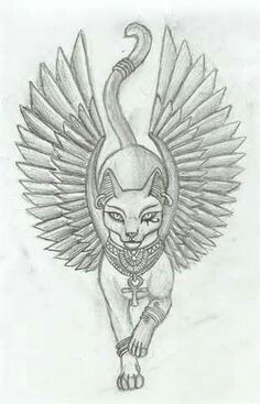 Cat Egypt tattoo sketch