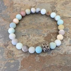 Light Blue Amazonite Bracelet, Unisex Bracelet, Bali Silver, Men's Bracelet, choose your size