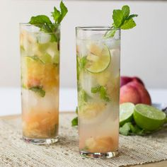 Nectarine Mojitos 1 1/3 cups peeled, diced Nectarines ¾ lime, halved and cut into thin slices 8-12 mint leaves 2 tablespoons sugar ½ cup rum ½ cup club soda Place apricots, lime, and mint in a pitcher and muddle together. Add sugar and rum. Stir together. Pour mixture into 2 glasses filled with ice. Add ¼ cup club soda to each glass and serve.