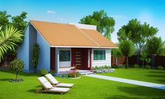 Small Bungalow Home Blueprints and Floor Plans With Bungalow Haus Design, Small Bungalow, Bungalow Homes, Small House Layout, Small House Design, House Layouts, Home Building Design, Building A House, Garage Ouvert