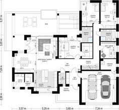 Projekt domu Willa Parterowa 171,76 m² - koszt budowy - EXTRADOM Village House Design, Bungalow House Design, Village Houses, Beautiful House Plans, Beautiful Homes, Villa Rica, Pool House Plans, Model House Plan, My Dream Home