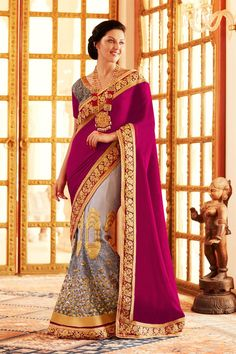 Pink And Grey Color #Embroidered #Lehenga Saree   This Lehenga #saree is graciously decorated with heavy zari, resham embroidery work and lace border work   that adds more richness to the look of the attire.   Buy Here - http://www.sanwaree.com/Buy/SAREES/Lehenga-Sarees/Pink-And-Grey-Color-Embroidered-Lehenga-Saree-17914