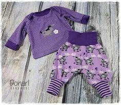 Donarl Stoffonkel Donkey Lou purple Kuller biojersey Rehearsal Checkerhose Babyshirt Klimtklein Donkey application sew for baby