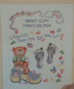 Where will these little feet take you, cross stitched with babies name and dob