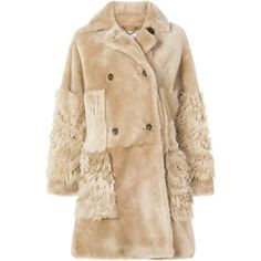 Desa 1972 double breasted coat ($2,250) ❤ liked on Polyvore featuring outerwear, coats, beige coat, double-breasted coat and desa 1972