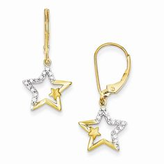 14k with Rhodium Diamond Simply Starz Leverback Earrings