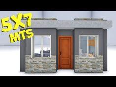Plano de casa 5x7m / House 5x7 - YouTube Big Modern Houses, Small Modern House Plans, House Plan With Loft, Modern House Facades, Small House Design, Tiny Houses, Metal Building Homes, Building A House, Small Loft Apartments