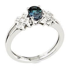 Carolena - Alexandrite ,white diamond and white gold ring.