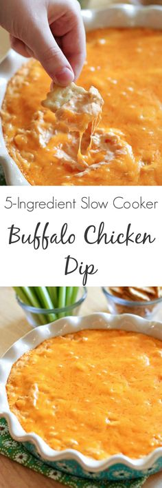 With only 5 ingredients, this Buffalo Chicken Dip appetizer is spicy, delicious and addicting. Perfect in the slow cooker or oven! (cook chicken in crockpot) Appetizer Dips, Best Appetizers, Appetizer Recipes, Mexican Appetizers, Halloween Appetizers, Dip Recipes, Party Appetizers, Recipies, Appetizers Superbowl