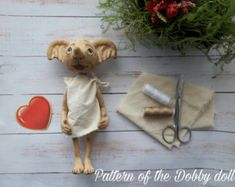 "Pattern of the Dobby doll from ""Harry Potter"" 9 inches (23 cm) height"