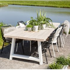 Palm Beach Lifestyle - Large garden table teak class with white legs . - Palm Beach Lifestyle – Large garden table teak classroom with white metal legs, Palm Be - Outdoor Coffee Tables, Outdoor Dining, Square Patio Table, Patio Plants, Concrete Patio, Garden Table, Dining Table Chairs, Patio Design, Backyard