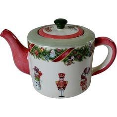 """Christopher Radko """"Christopher's Tree"""" Teapot by Zrike .... decorated with snowman, nutcracker toy soldier & candy canes and red ribbon-wrapped garland, ceramic, c. 1990s-2000s"""