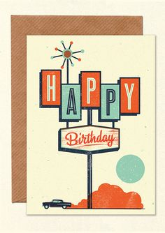 Happy Birthday Highway Sign Greetings Card with by Telegramme